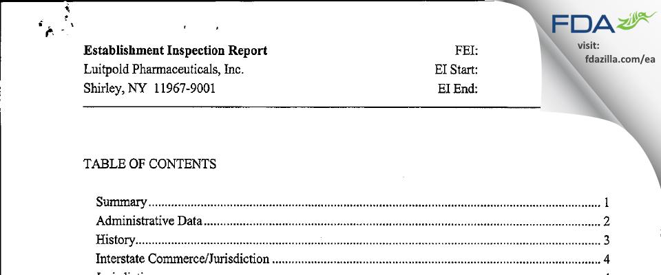 Luitpold Pharmaceuticals FDA inspection 483 Oct 2010