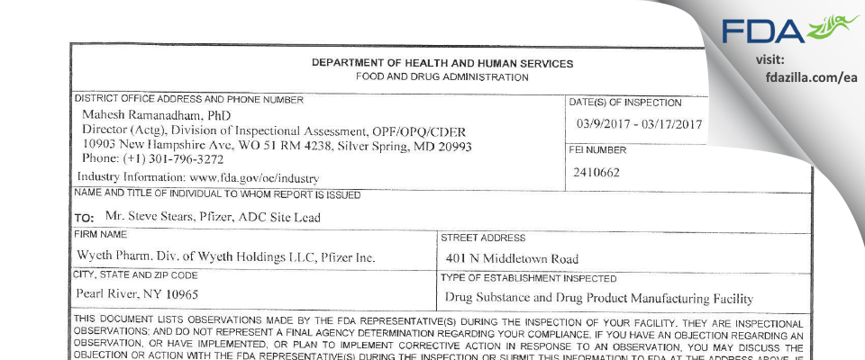 Wyeth Pharmaceutical Division of Wyeth Holdings FDA inspection 483 Mar 2017