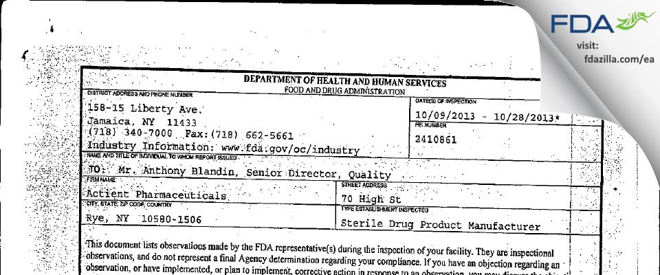 Auxilium Pharmaceuticals FDA inspection 483 Oct 2013