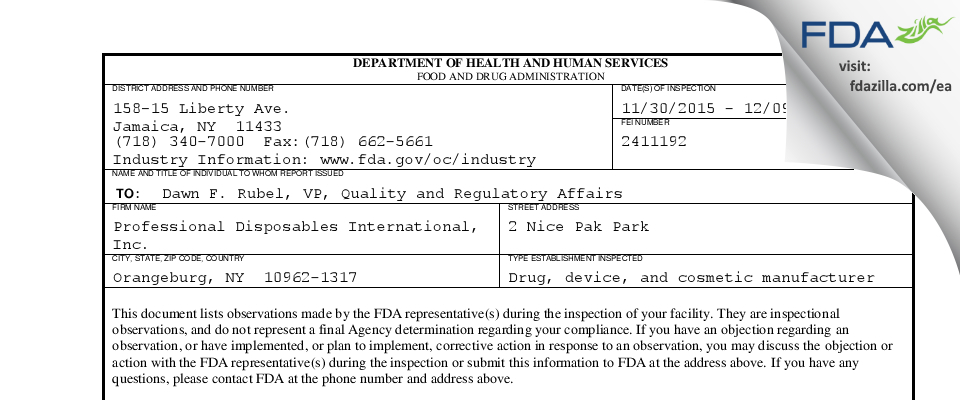 Professional Disposables International FDA inspection 483 Dec 2015