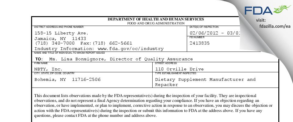 NBTY FDA inspection 483 Mar 2012
