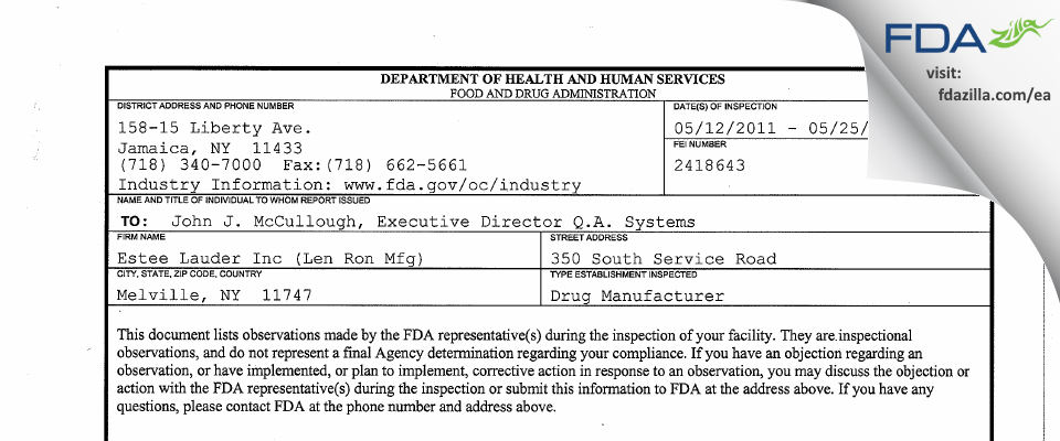 Len-Ron Manufacturing Division of Aramis FDA inspection 483 May 2011