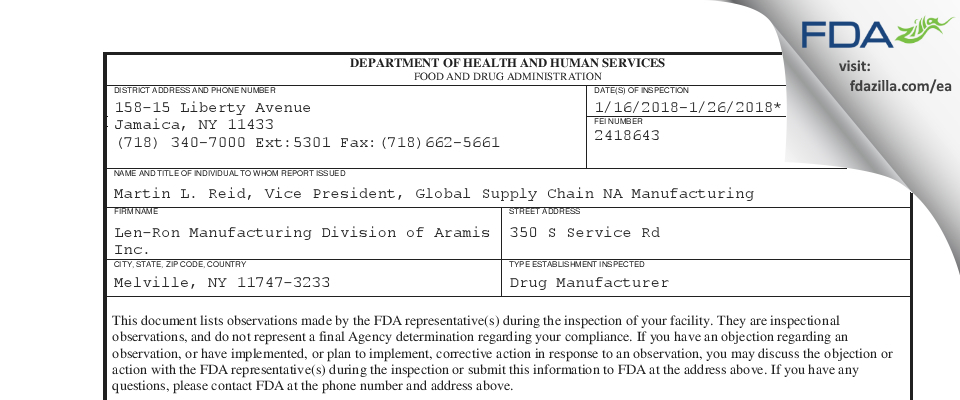 Len-Ron Manufacturing Division of Aramis FDA inspection 483 Jan 2018