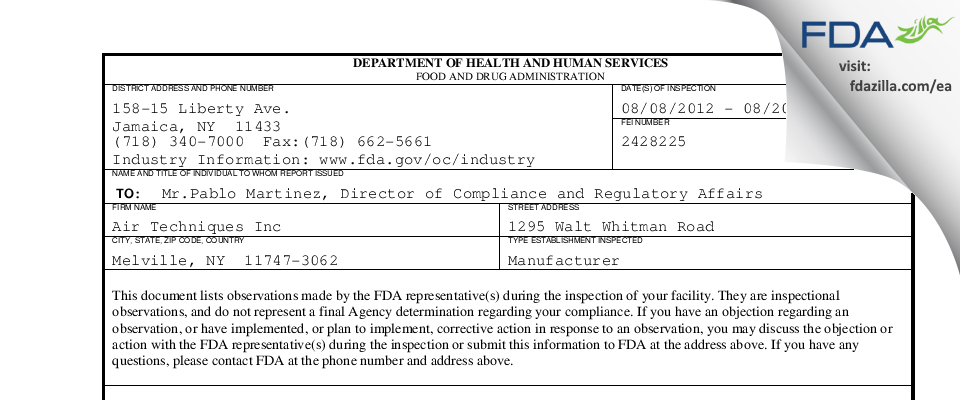 Air Techniques FDA inspection 483 Aug 2012