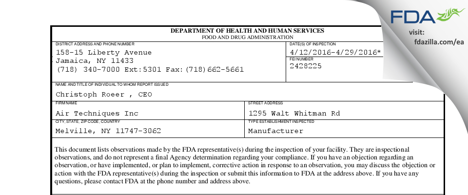 Air Techniques FDA inspection 483 Apr 2016