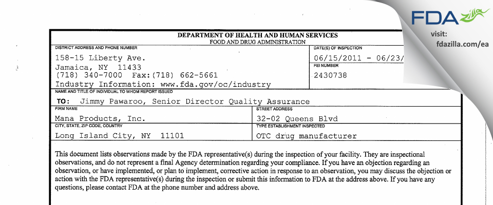 Mana Products FDA inspection 483 Jun 2011
