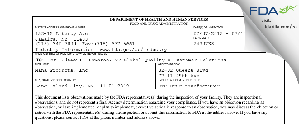 Mana Products FDA inspection 483 Jul 2015