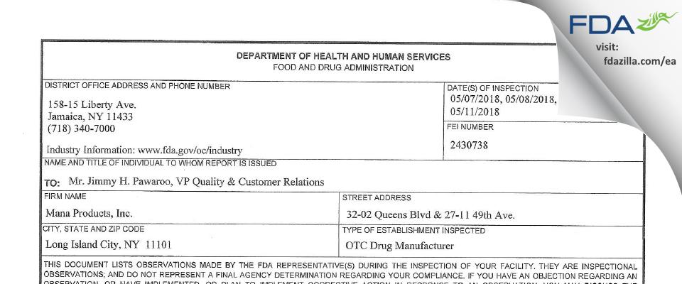 Mana Products FDA inspection 483 May 2018