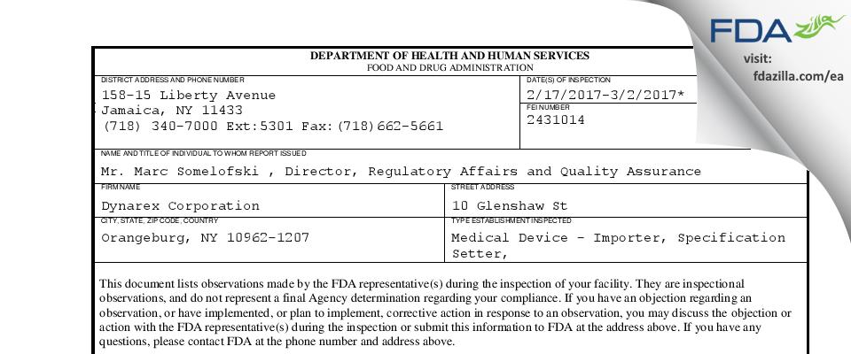 Dynarex FDA inspection 483 Mar 2017