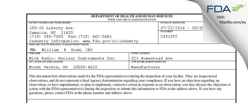 Mick Radio Nuclear Instr FDA inspection 483 Aug 2014
