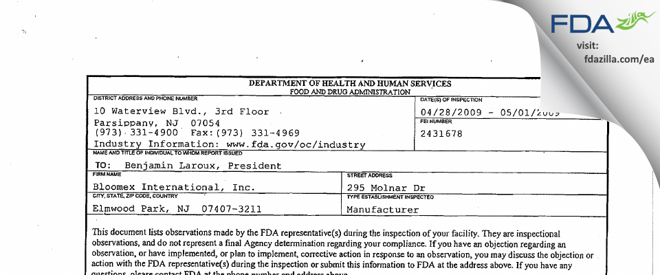 Bloomex International FDA inspection 483 May 2009