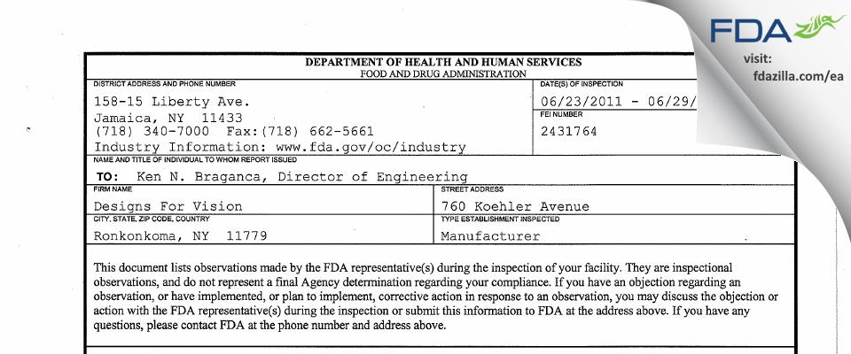 Designs For Vision FDA inspection 483 Jun 2011