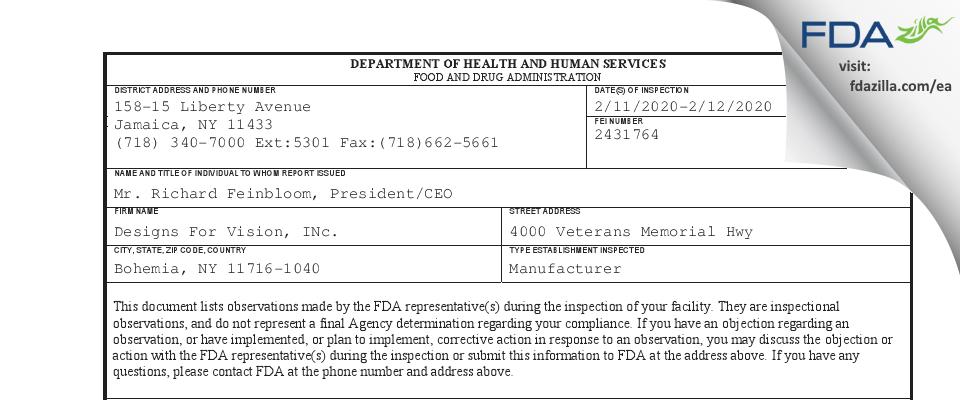 Designs For Vision,. FDA inspection 483 Feb 2020