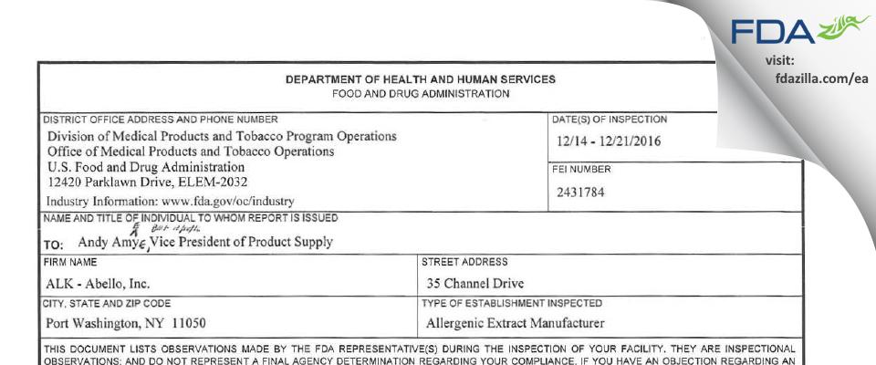 Alk-abello FDA inspection 483 Dec 2016