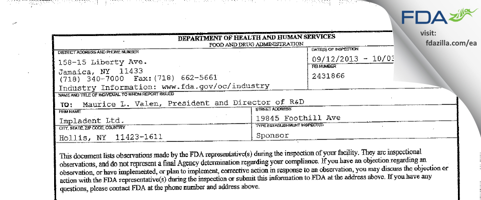 Impladent FDA inspection 483 Sep 2013