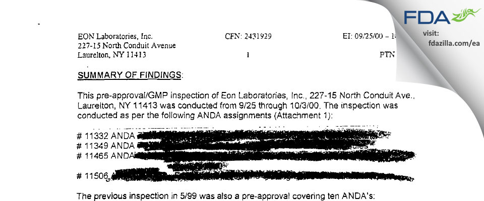 Epic Pharma FDA inspection 483 Oct 2000