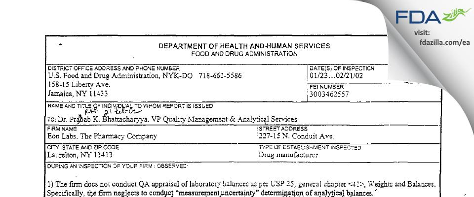 Epic Pharma FDA inspection 483 Feb 2002
