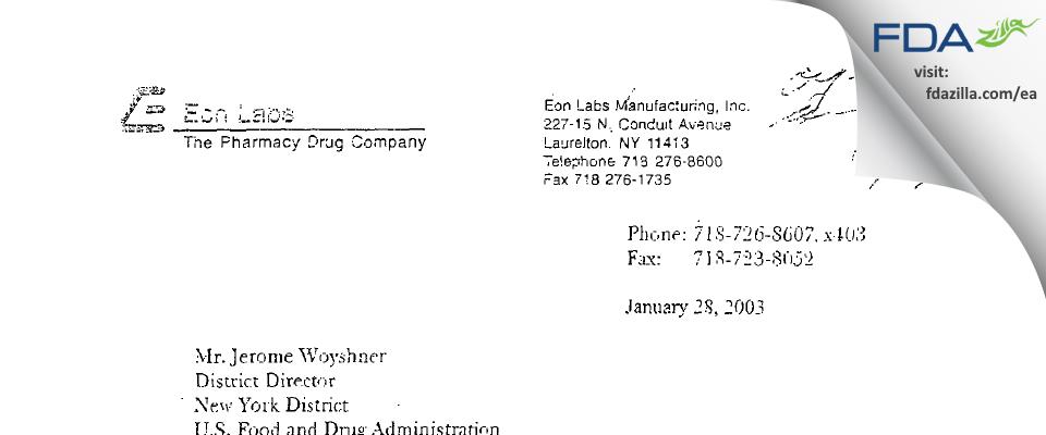 Epic Pharma FDA inspection 483 Jan 2003