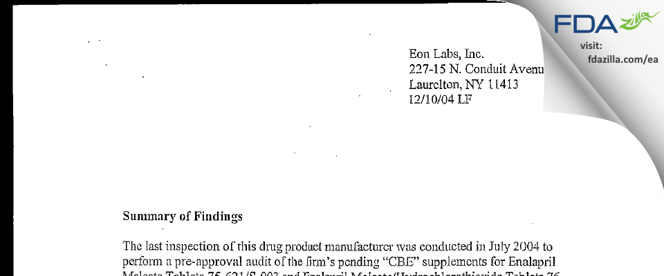Epic Pharma FDA inspection 483 Dec 2004