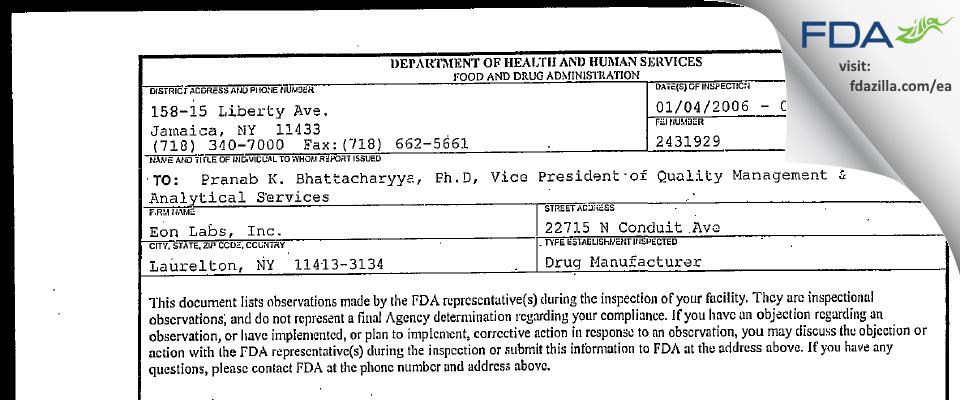 Epic Pharma FDA inspection 483 Jan 2006