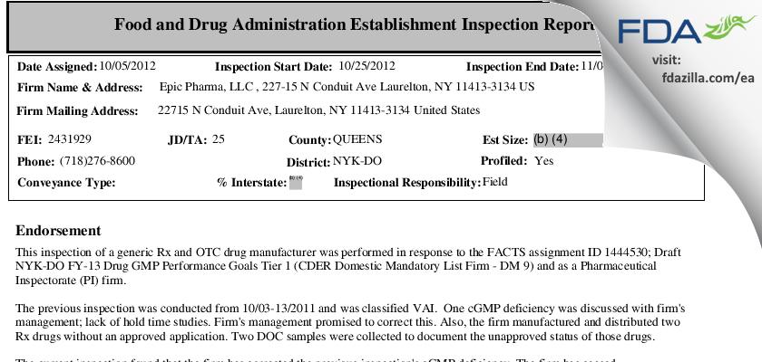 Epic Pharma FDA inspection 483 Nov 2012