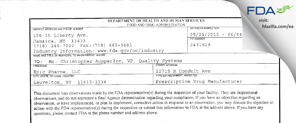 Epic Pharma FDA inspection 483 Jun 2015