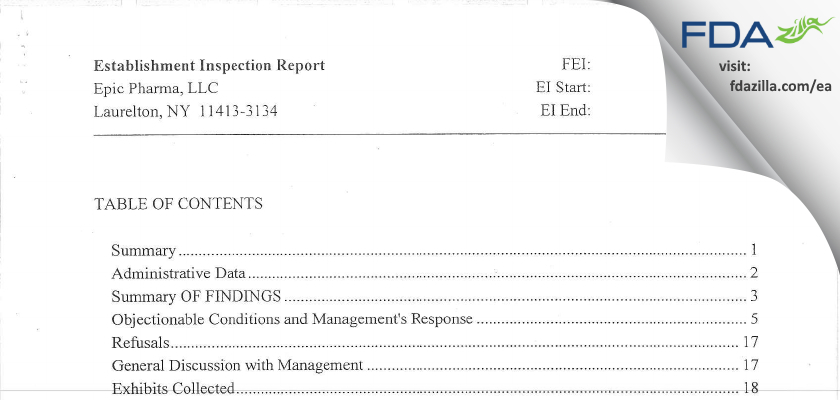 Epic Pharma FDA inspection 483 Jun 2015