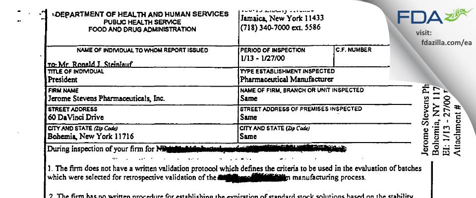 Jerome Stevens Pharmaceuticals FDA inspection 483 Jan 2000