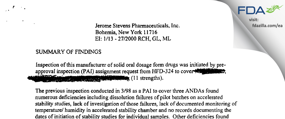 Jerome Stevens Pharmaceuticals FDA inspection 483 Jan 2000