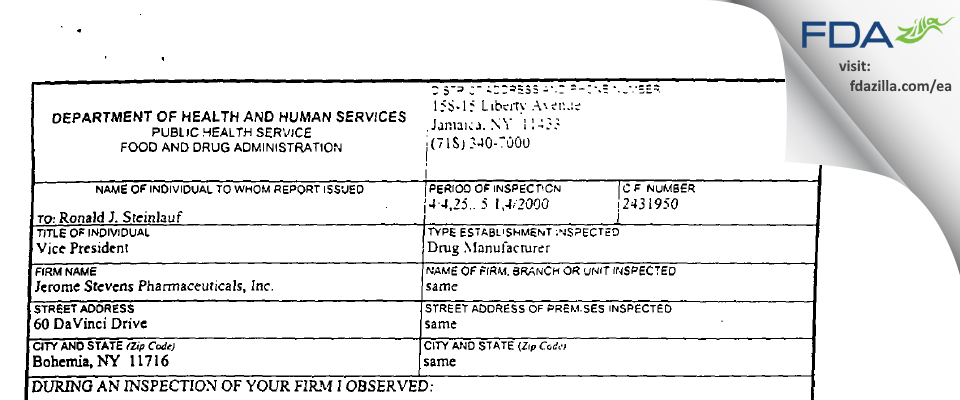 Jerome Stevens Pharmaceuticals FDA inspection 483 May 2000