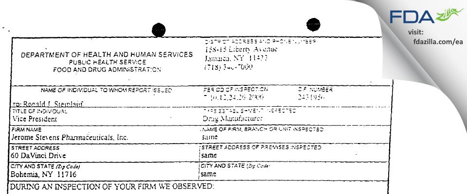 Jerome Stevens Pharmaceuticals FDA inspection 483 Jul 2000
