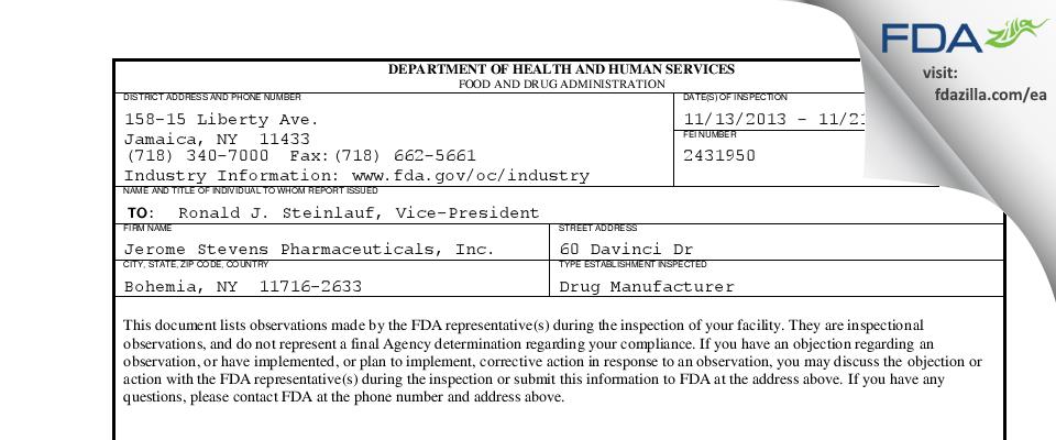 Jerome Stevens Pharmaceuticals FDA inspection 483 Nov 2013