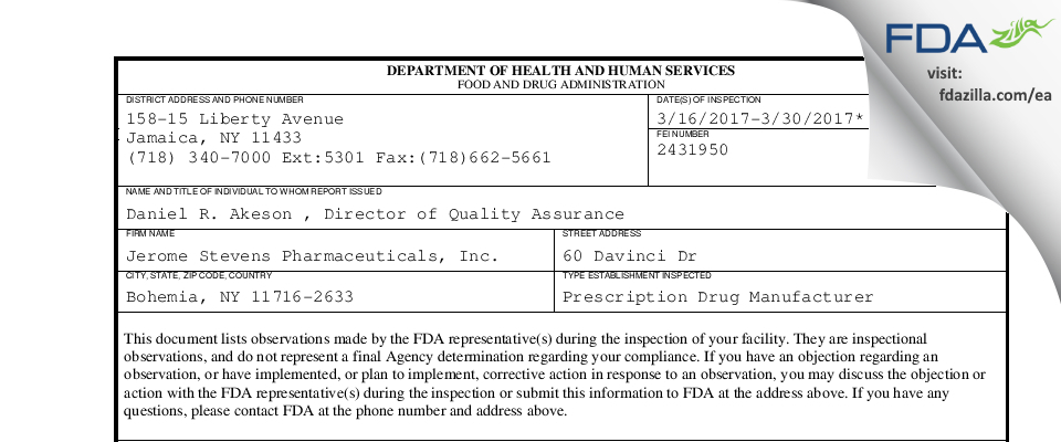 Jerome Stevens Pharmaceuticals FDA inspection 483 Mar 2017