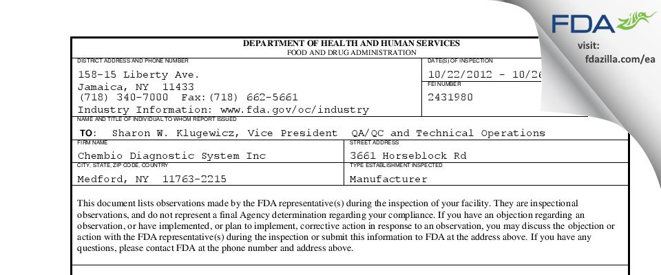 Chembio Diagnostics FDA inspection 483 Oct 2012