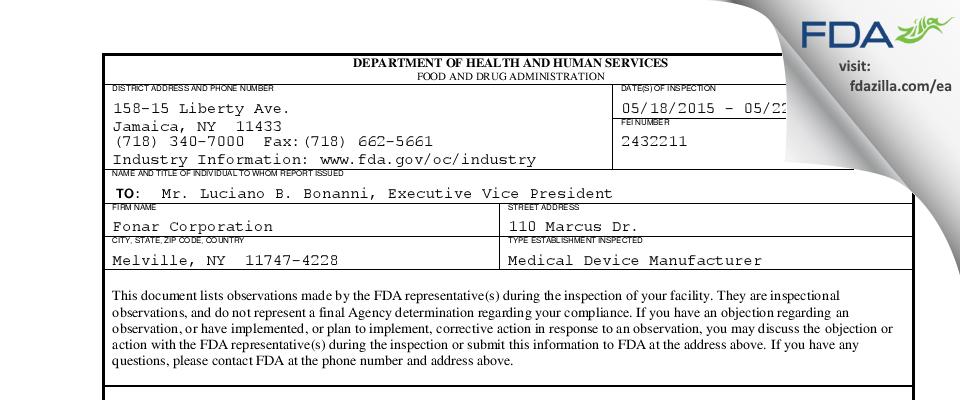 Fonar FDA inspection 483 May 2015