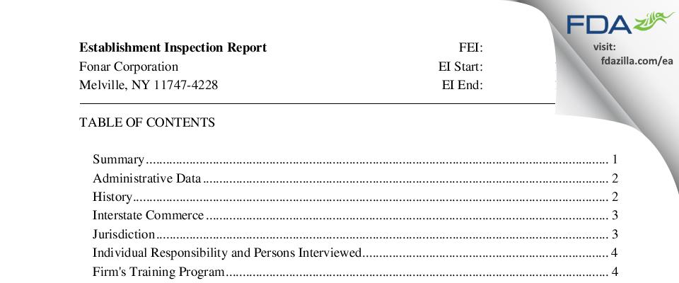 Fonar FDA inspection 483 Jan 2017