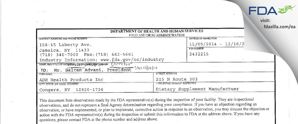Adh Health Products FDA inspection 483 Dec 2014