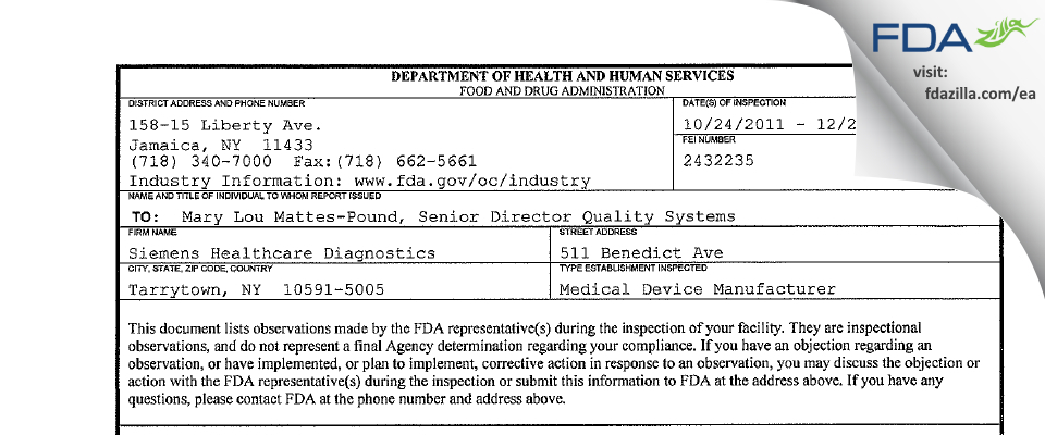 Siemens Healthcare Diagnostics FDA inspection 483 Dec 2011