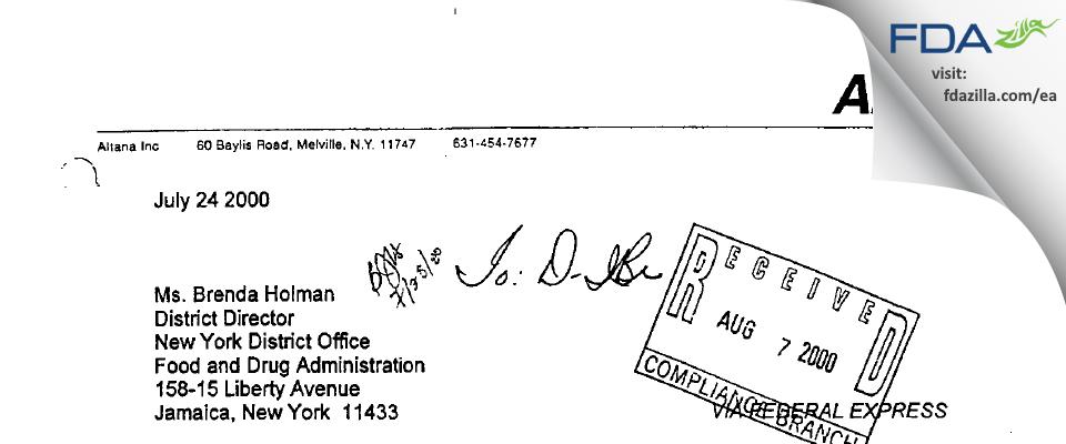 Fougera Pharmaceuticals FDA inspection 483 Jun 2000