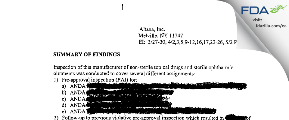 Fougera Pharmaceuticals FDA inspection 483 May 2001