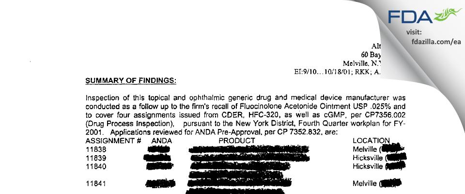 Fougera Pharmaceuticals FDA inspection 483 Oct 2001