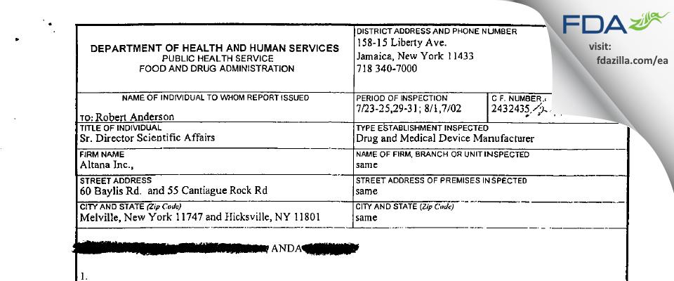 Fougera Pharmaceuticals FDA inspection 483 Aug 2002