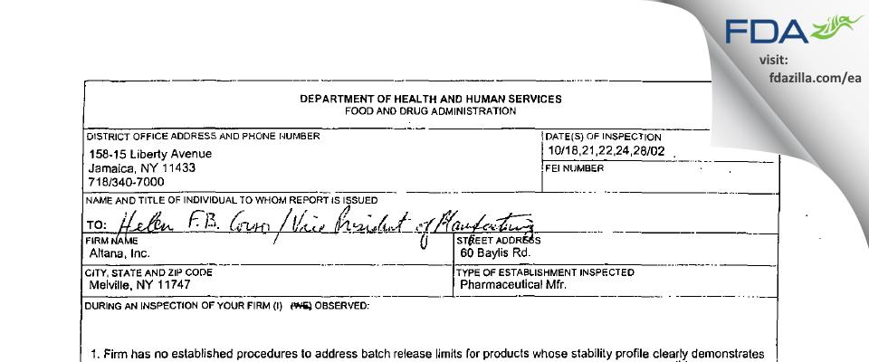 Fougera Pharmaceuticals FDA inspection 483 Oct 2002