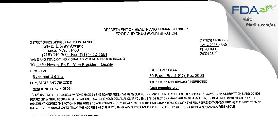 Fougera Pharmaceuticals FDA inspection 483 Feb 2009