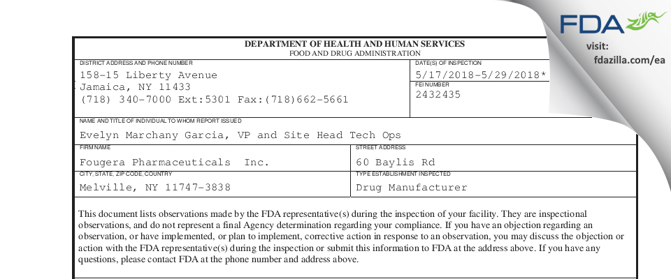 Fougera Pharmaceuticals FDA inspection 483 May 2018
