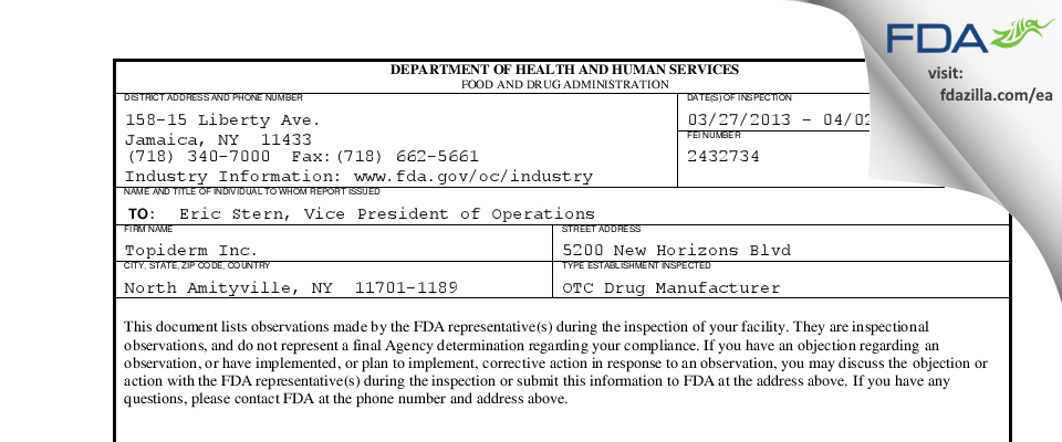 Topiderm FDA inspection 483 Apr 2013