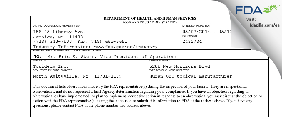 Topiderm FDA inspection 483 May 2014