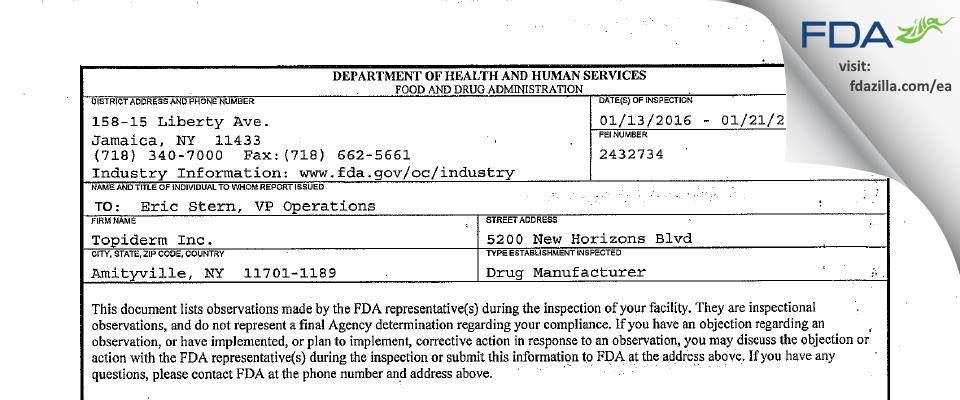 Topiderm FDA inspection 483 Jan 2016