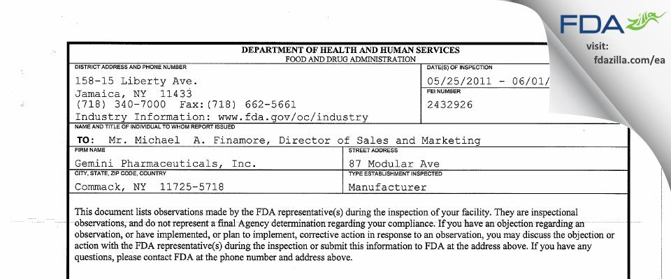 Gemini Pharmaceuticals FDA inspection 483 Jun 2011