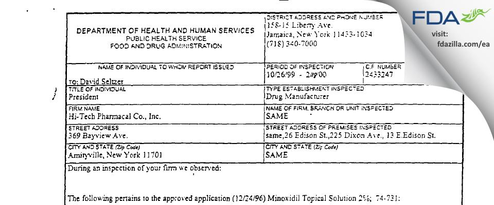 Hi-Tech Pharmacal, An AKORN Company FDA inspection 483 Feb 2000